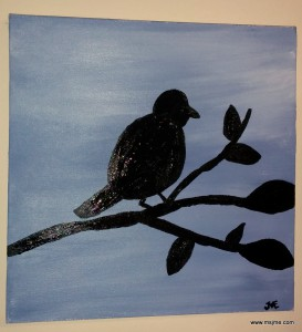 Designed and painted by MsJme.  Single bird on a limb.