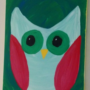 I painted this, just for me.  I love owls and this looks great on my kitchen wall.