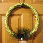 Pearls and Peacock Feather Wreath with Green Ribbon