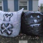 Black Cat Halloween Leaf Bags