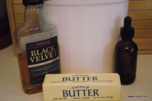 Ingredients: 1 stick of Butter (at room temperature) 2 3/4-3 cups of Powdered Sugar 1 tsp Vanilla Extract 4 tbs Black Velvet