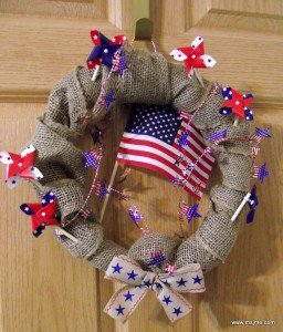 MsJme designed this wreath for a gift for family.  Burlap adds extra texture and the pinwheels still move in a breeze!