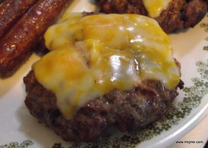 Grill the burger as you normally do  (my hubby does 5 minutes on each side).  Sometimes I cook these on the stove top.  When I do this, I poke a small hole in the middle of the patty and add about 1/2 cup of water and let it steam cook until it is barely pink in the middle.  Cheese is always added at the end, when there is about 1 minute left to cook.
