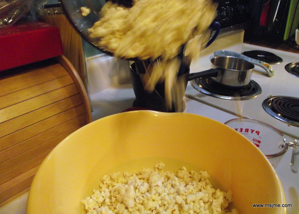 Pour the popped corn into a large bowl and share! Sometimes I add a dash of popcorn salt or a dash of Parmesan Cheese. But this popcorn is really good just plain.