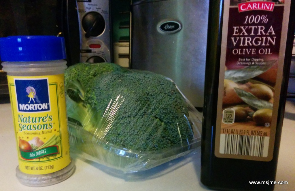 Preheat Oven for 375 degrees Ingredients: Fresh Broccoli, a tablespoon or 2  Olive Oil, and Seasoning (dash)