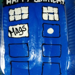 I finally had the opportunity to make a TARDIS cake and it turned out awesome! I used Wilton Gel Food Dye (mix of blue, red and violet) to get the TARDIS blue color.